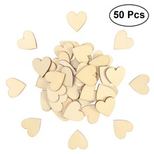 50pcs 30mm Rustic Wooden Love Heart Wedding Table Scatter Decoration Craft Accessories(China)