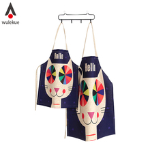 Wulekue S L Size Linen Sleeveless Apron Creative Cartoon White Black Cat For Cooking Painting Clean Tools