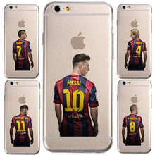Football Stars Messi Neymar Jersey Coque for iPhone 7 7plus 6S 6 5S SE Case slim transparent Silicone soft TPU mobile Phone bag