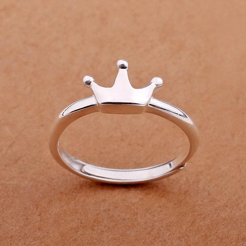 Sterling Silver Plain Princess Crown Ring