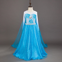 kids blue birthday dresses for 4 5 6 7 8 9 10 years children's halloween costumes for girls princess clothes cartoon elsa dress(China)