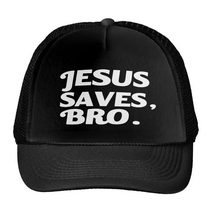 Jesus Saves Bro Letters Print Baseball Cap Trucker Hat For Women Men Unisex Mesh Adjustable Size Drop Ship M-158(China)