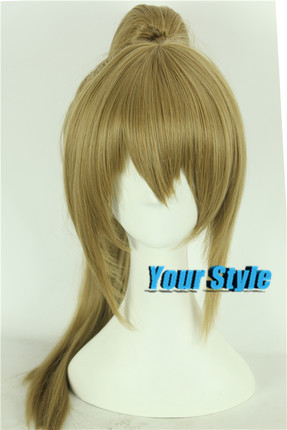 Japanese Gintama  Okita Sougo Cosplay Wig Ponytail Clips On Ponytail Blonde Party Hair Wigs Natural Perruca Women Synthetic  <br><br>Aliexpress
