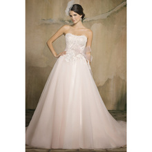 Fabulous Lace Wedding Dresses Sweetheart Ruched Bow Beaded Belt Blush Pink Tulle Elegant Bridal Dresses Floor Length
