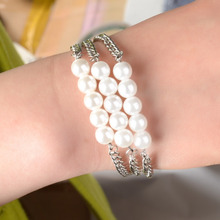 New Arrivals Multilayer Faux Pearl Bracelet for Women Silver Color Chain Bangles Charm Hand Jewelry Accessories