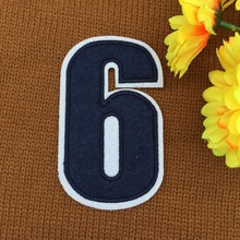 retail ~ 1pcs Footballer Polo Shirt No.6 Number Badge Patches iron on Fabrics Clothes bag Appliques DIY accessory(China)