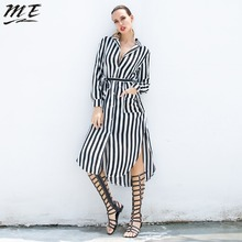 ME 5XL Autumn Dress Women Plus Size Long Sleeve High Waist Striped Dresses Casual Split Female Dresses Vestidos(China)