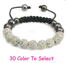 Min.$15 Mixed Order+Free Shipping+Gift.10mm AB Disco Ball Beads Crystal Shamballa Bracelet Fasion Jewelry For Women Men.