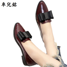 spring autumn Flat oxford shoes for women PU Leather loafers lace up butterfly knot ladies Casual Shoes wine red pointed toe