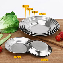 5PCS Stainless Steel Round Dinner Plates Tableware Food Dish for Steak Fruit bandeja platos 6 Sizes