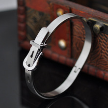 Hot German imports of live buckle silver buckle glossy titanium steel bracelet British style belt buckle bracelet male MZ-049(China)