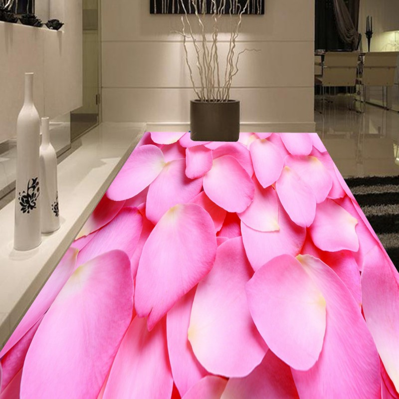 Free Shipping 3D pink rose petal tile floor painting lifelike high-quality lobby wallpaper thickened lobby bedroom mural<br>