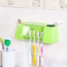 Urijk Multifunctional 2in1 Toothbrush Holder Storage Box Bathroom Accessories Suction Hooks Tooth Brush Holder(China)