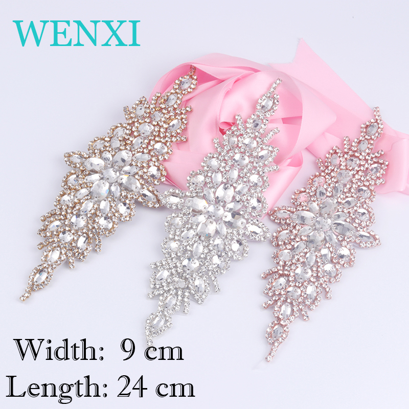 WENXI, 1pcsHand Beaded Sew Rose Gold Bridal Crystal Rhinestone Applique Patch Wedding Dresses Sash Accessory DIY Iron