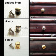 12x Antique Brass Silvery Golden Decorative Mini Jewelry Box Drawer Cabinet Dresser Wooden Case Handle Pull Knob 7mm with screws