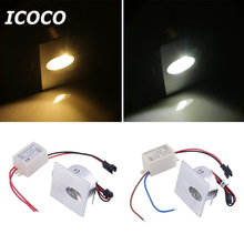 ICOCO 1pcs LED Walkway Step Stair Wall Corner Light 1W Lamp Bulb Corridor White 85-265V High Quality Promotion Sale(China)