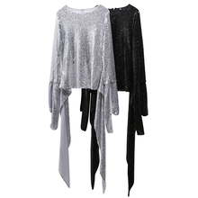 HIGH STREET New Fashion 2018 Designer Tops Women's Bling Sequined Blouse Tops(China)