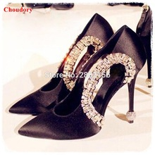 Sexy Black Women High Heels Rhinestone Decor Stiletto Heel Wedding Party Shoes Satin Women Pumps Zapatos Mujer