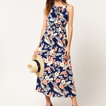 Buy Summer Long Dress Women Sexy Halter Chiffon Vestidos Flower Print Dresses Blue Elastic Waist Bohemian Maxi A-Line Beach Dress