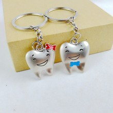 1 pair 2017 new cute kawaii silver plated tooth shape key chain ring anime keychain novelty creative trinket charm women men kid