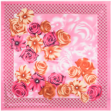 Euro style Silk 90cm*90cm Square Scarf hijab Women Imitated Silk Rose Flower and Houndstooth Printed Scarves Shawl