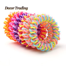 Middle Size Hair Scrunchie Popular Korean Candy Color Telephone Wire Style Elastic Band Rope or Bracelet for Women