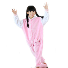 Cute Kawaii Funny Anime Cosplay Halloween Costume For Kids Children Girl Animal Pink Flannel Pajamas Onesie Party Princess Dress