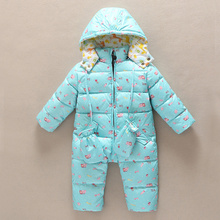 Warm children winter jumpsuit fashion Rompers flower baby girl winter coat solid boys snowsuit hooded rompers baby overalls(China)