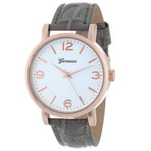 Horloges Watch Newly Design Women's Big Dial Gray Leather Band Female Casual Clock Quartz-Watch Relogio Feminino Montre Femme