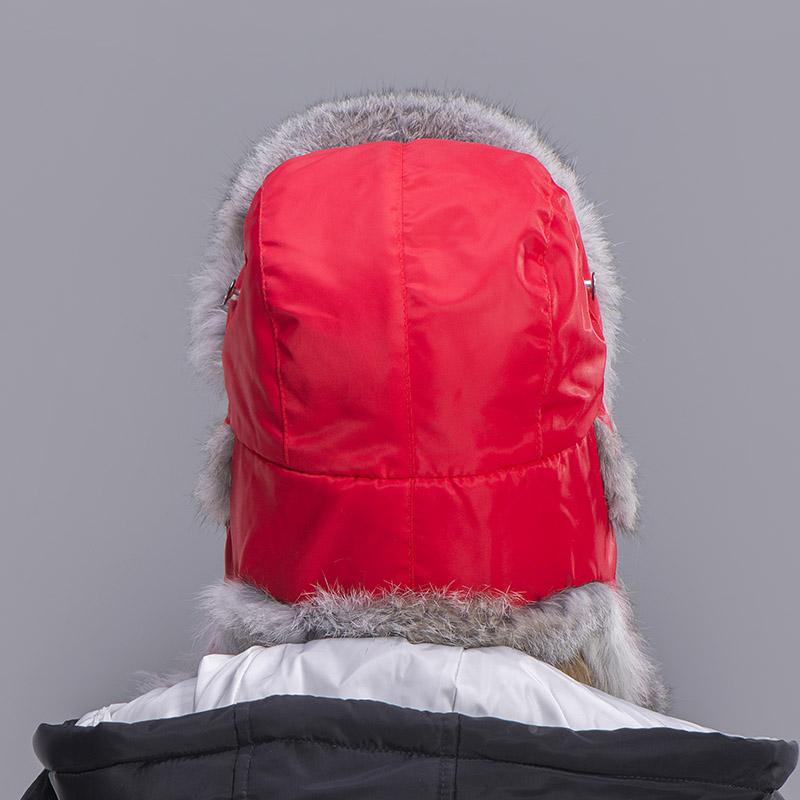 rabbit fur hat women red 3