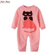 Fashion Autumn Pink Baby Knitted Romper Cat Pattern Jumpsuit 100%Cotton Infant Girl Playsuit(China)