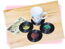 4pcs Creative Silicone CD Record cup mats  Nostalgic music discs  Drink Coasters Non - slip insulation  placemat  household pads