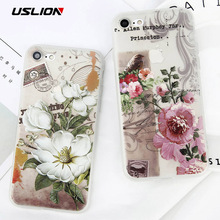 USLION Beautiful Rose Flower Case For iPhone 6 6s Plus Floral Letter Phone Case Soft Silicon Clear Back Cover For iPhone 6S Plus(China)