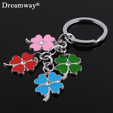 stainless steel clover keychain fashion four leaf clover keyring key chain key ring holder bag pendant charms(China)