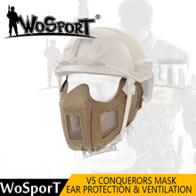 WoSporT Paintball Mask Metal Steel Net Half Face Airsoft Hunting Tactical Mask for Military Army Party CS Paintball Accessories