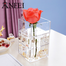 ANFEI Transparent Makeup Organizer Acrylic Material Cosmetic Case 4 Differents Style Rose Flower Box With Lid Makeup Organizer(China)