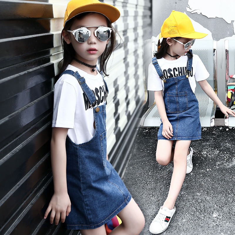 Girl Summer Wear Straps Cowboy Children Korean Camisole Suit-dress Dress Hot Kids Clothing<br>