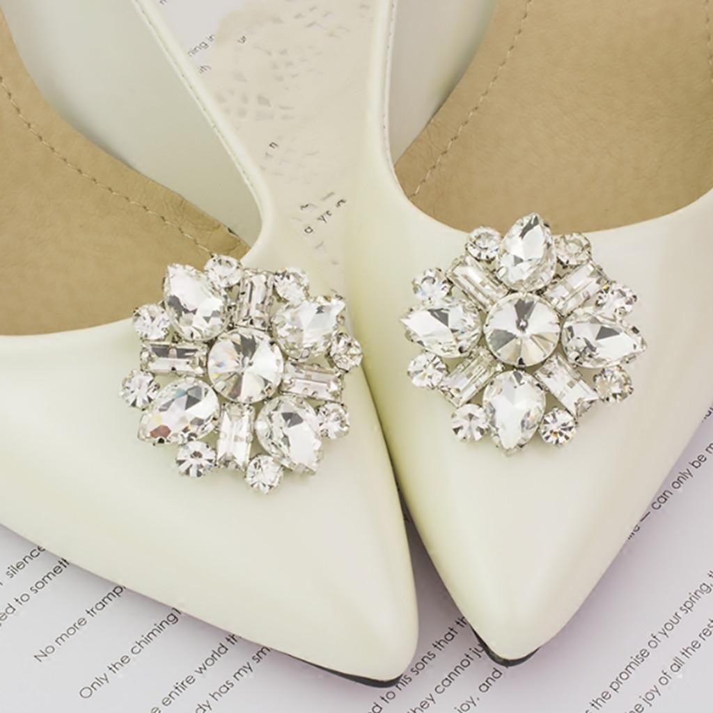 1PC Women Shoes Decoration Clips Crystal Shoes Buckle Bridal Charm Decor TR