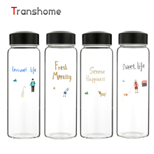Transhome New Korean Style Glass Bottle 400ML Glass Bottle Outdoor Bottle For Water Lemonade Bottle botella de agua