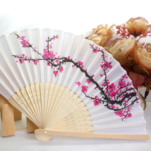 Top Grand 1Pcs New Chinese Flower Floral Fabric Lace Folding Hand Fan Dancing Wedding Decor Fan Drop Shipping