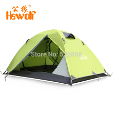 Male wolf outdoor camping tent aluminum pole double bunk camping equipment and more air defense rain storm 2