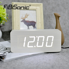 FiBiSonic 2017 New Digital Alarm Clocks Modern Calendar Thermometer Wooden Big Numbers LED Table Clock