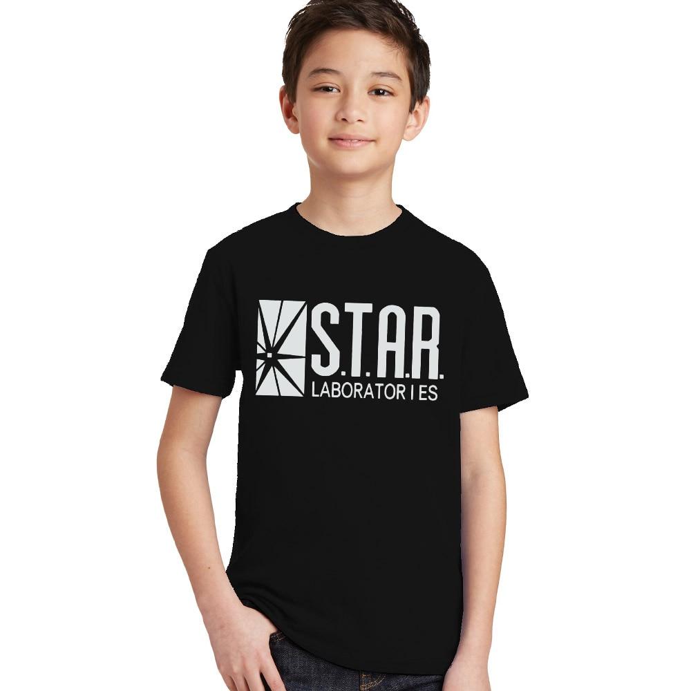 3-10Y Kids Black Star Lab Letter Print Short Sleeve T Shirt Boys Novelty T-shirt Girls Tshirt Clothes Anime Comics The Flash 3
