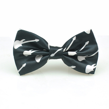 "New Fashion Women Mens Unisex Tuxedo Classic Bowtie ""White Guitar Black Music"" Pattern Score Adjustable Gravata Butterfly Tie(China)"