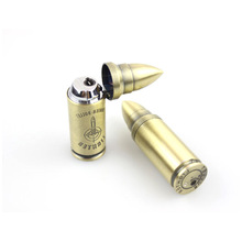 Creative Copy Bullet Butane Straight Flame Lighter Metal Pressing Type Windproof Gas Lighter Novelty Military Gift