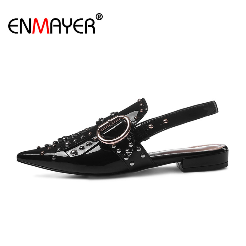 ENMAYER Slingback Rivet Buckle Strap Pointed Toe Classic Black Shoes Women Genuine Leather Flats Hot Fashion Summer Women Flats<br><br>Aliexpress