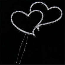Double Heart in Heart Wedding Cake Toppers Sparkling Silver Cake Accessory Crystal Rhinestone Mariage Cake Decorating Topper