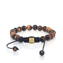 Tiger Eye Natural Stone Beaded Braided Shamballa Bracelet for Men