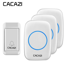 CACAZI New Wireless Doorbell No battery Waterproof EU/UK/US Plug indicator light 120M remote 1 self-powered button 3 receivers(China)