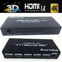 20PCS/lot Professional 4K HDMI splitter 1X4 Distributor HDMI 1.4V 4kX2k supported with power adapter